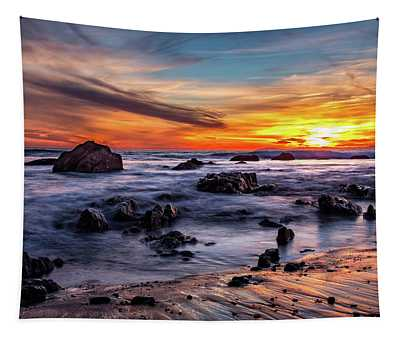 Sunset On The Rocks Tapestry