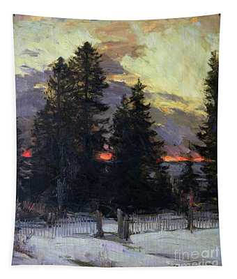 Sunset Over A Winter Landscape Tapestry