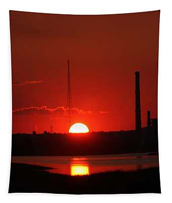 Sunset Over Bridgeport Tapestry