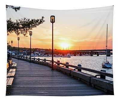Sunset Over Newburyport Ma Merrimack River Newburyport Turnpike Tapestry