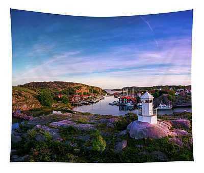 Sunset Over Old Fishing Port - Aerial Photography Tapestry
