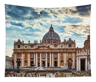Sunset Over The Papal Basilica Of Saint Peter Tapestry