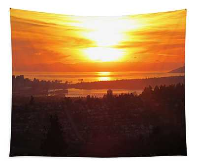 Sunset Over Vancouver Tapestry