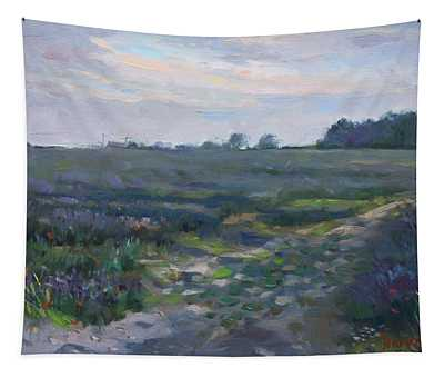 Sunset Over The Field Tapestry