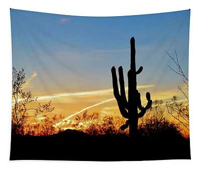 Sunset Saguaro In The Spring Tapestry