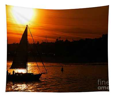 Sunset Sailing Tapestry