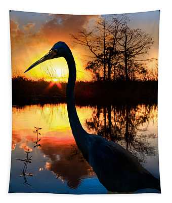 Sunset Silhouette Tapestry