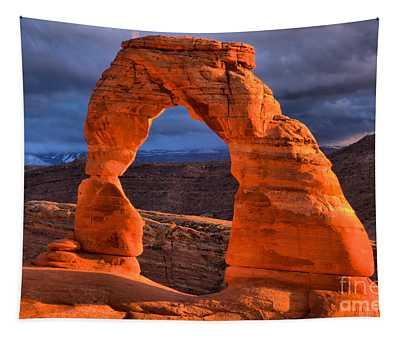 Sunset Storms Over Delicate Arch Tapestry