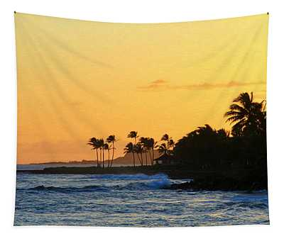 Sunset Time In The Tropics Tapestry