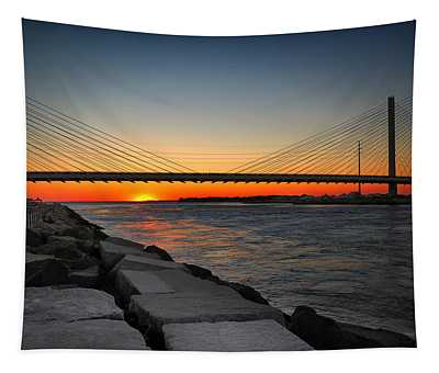 Sunset Under The Indian River Inlet Bridge Tapestry