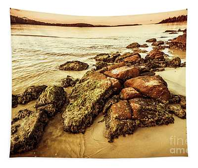 Sunsets And Sea Stones Tapestry