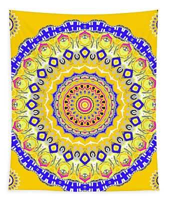 Tapestry featuring the digital art Sunshine And Blue Skies Mandala by Joy McKenzie