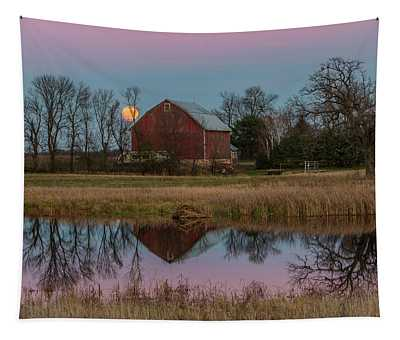 Super Moon And Barn Series #1 Tapestry