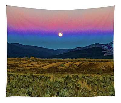 Super Moon Over Taos Tapestry