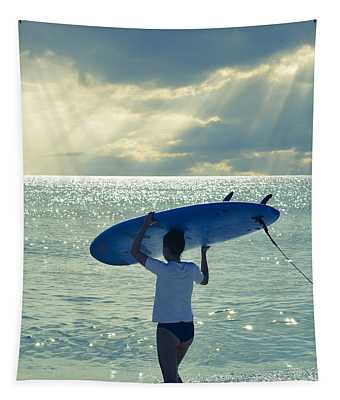 Surfer Girl Square Tapestry