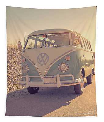 Surfer's Vintage Vw Samba Bus At The Beach 2016 Tapestry