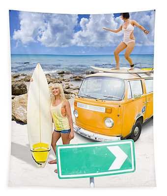 Surfing Holiday This Way Tapestry