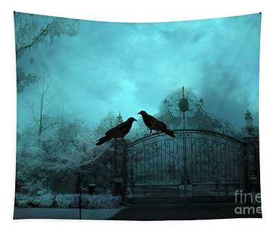 Surreal Gothic Ravens Fantasy Art Gate Scene Tapestry