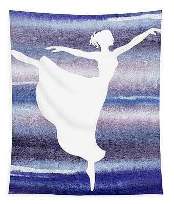 Swan Lake Arabesque Ballerina Silhouette  Tapestry