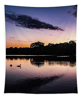 Swans At Sunrise Tapestry