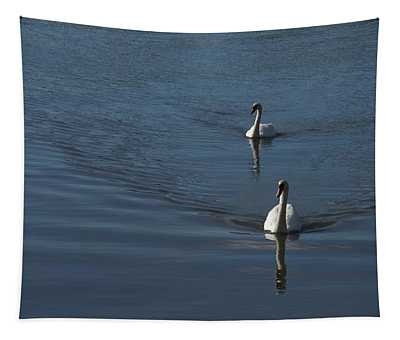 Swans On Deep Blue Tapestry