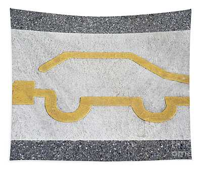Symbol For Electric Car Tapestry