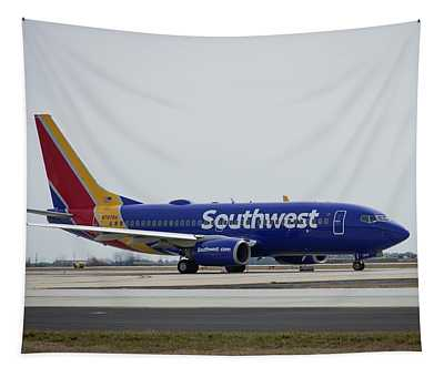 Take Off Southwest Airlines N7878a Hartsfield-jackson Atlanta International Airport Art Tapestry