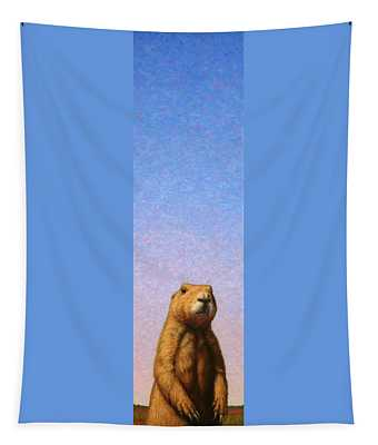 Tapestry featuring the painting Tall Prairie Dog by James W Johnson