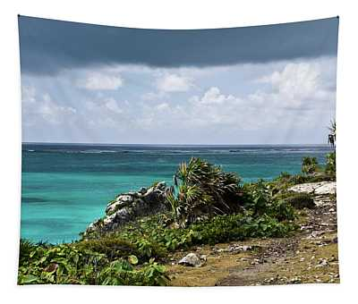 Talum Ruins Mexico Ocean View Tapestry