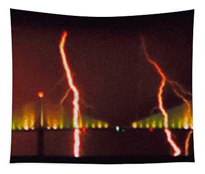 Tampa Bay Lightning Over The Skyway Bridge Tapestry