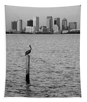 Tampa Skyline And Pelican Black And White Tapestry