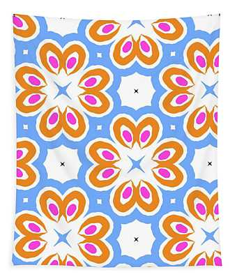Tangerine And Sky Floral Pattern- Art By Linda Woods Tapestry