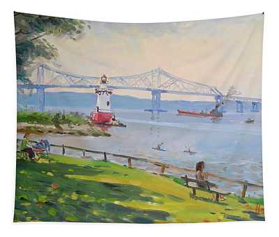 Tappan Zee Bridge And Light House Tapestry