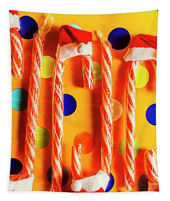 Tasty Candy Cane Sweets Tapestry