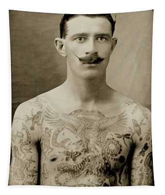 Tattooed British Sailor During The First World War Tapestry