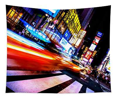 Taxis In Times Square Tapestry