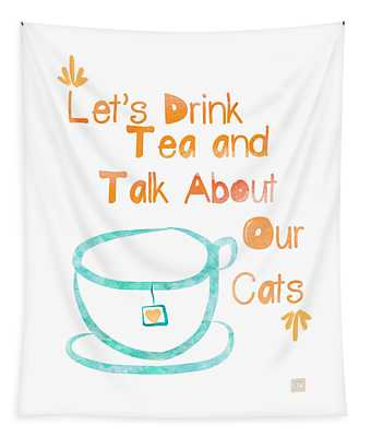 Tea And Cats Square Tapestry