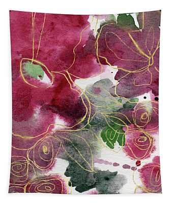 Tea Cup Roses- Art By Linda Woods Tapestry