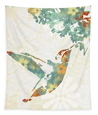 Floral Hummingbird Art Tapestry
