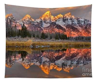 Teton Mountains Sunrise Rainbow Tapestry