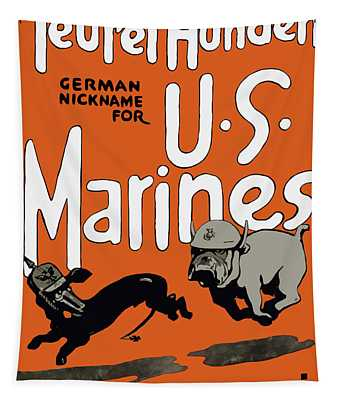 Teufel Hunden - German Nickname For Us Marines Tapestry