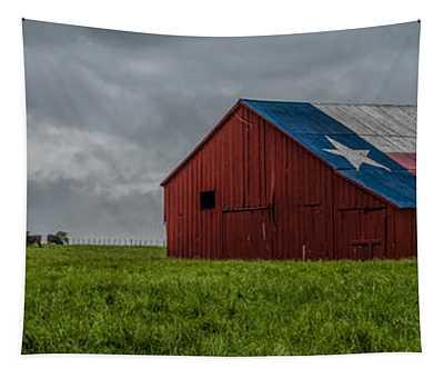 Texas Barn Panorama Tapestry