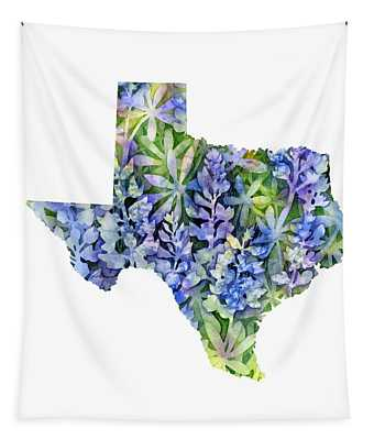 Texas Blue Texas Map On White Tapestry