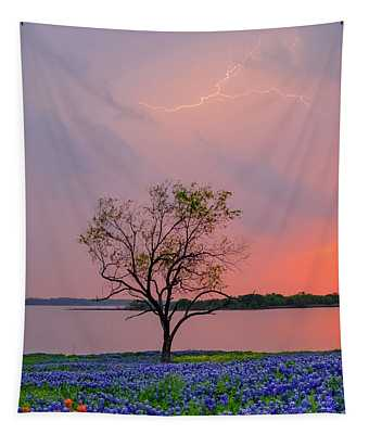Texas Bluebonnets And Lightning Tapestry
