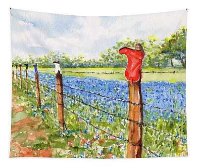 Texas Bluebonnets Boot Fence Tapestry
