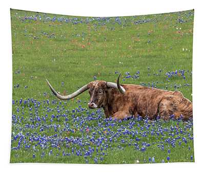 Texas Longhorn And Bluebonnets Tapestry