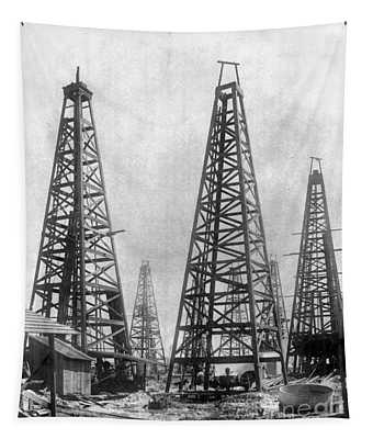 Tapestry featuring the photograph Texas: Oil Derricks, C1901 by Granger