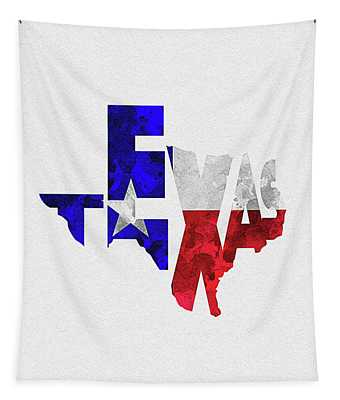 Texas Typographic Map Flag Tapestry