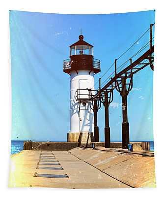 Textured St Joseph Lighthouse Michigan Tapestry