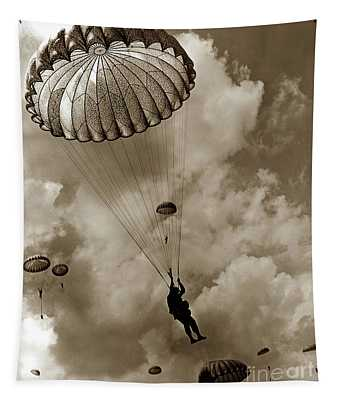 The 82nd Airborne  Hits The Silk Fort Ord 1953 Tapestry